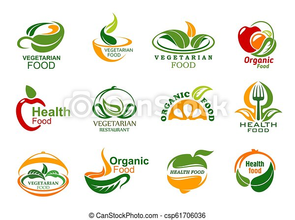 Vegetarian And Vegan Organic Food Icons Vegetarian Food Icons Vegan Cafe Or Eco Food Delivery Company Vector Green Veggie