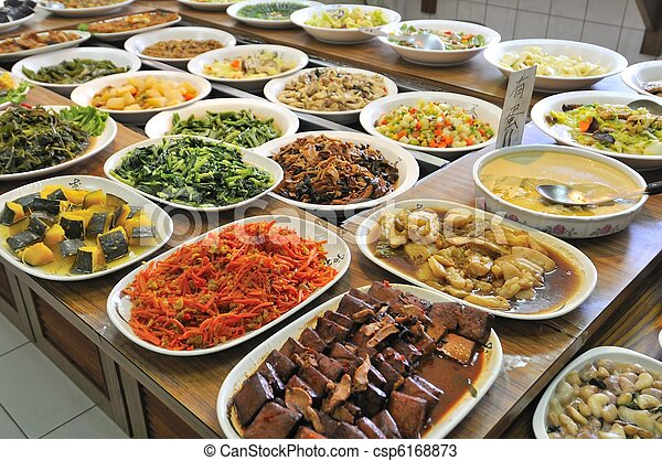 Vegetarian Buffet Meal Healthy And Nutritious Oriental