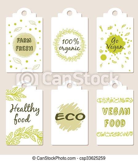 Vegetarian food badges - csp33625259