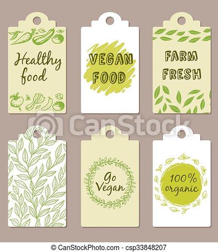 Vegetarian food badges  - csp33848207