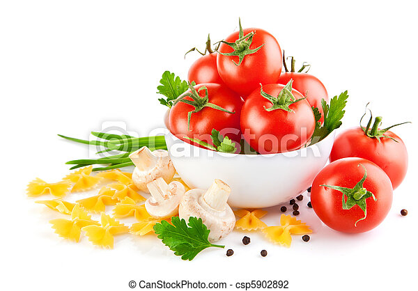 vegetarian food with tomato and champignons - csp5902892