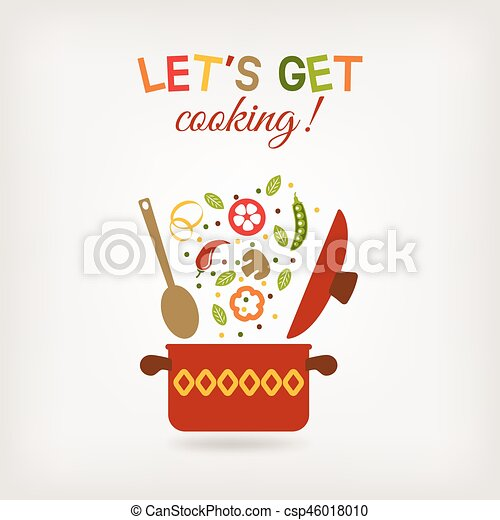 vegetarian menu or recipe book design. pot with vegetables - csp46018010