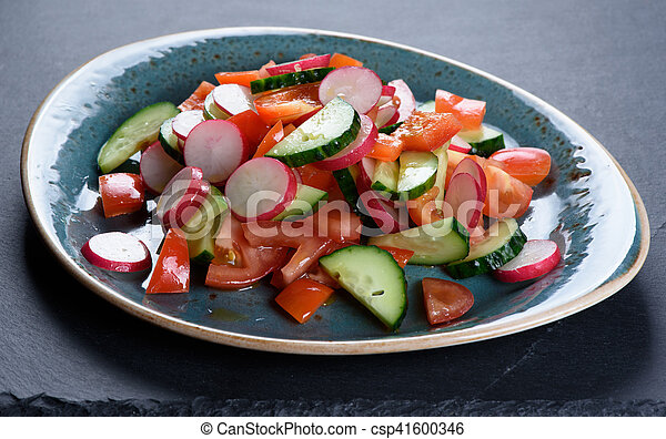 vegetarian vegetable salad on a plate - csp41600346