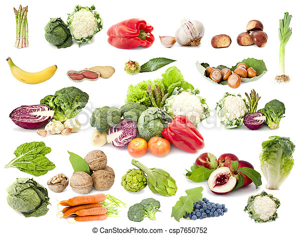 Obst- und Gemüsesammlung, vegetarische Ernährung - csp7650752
