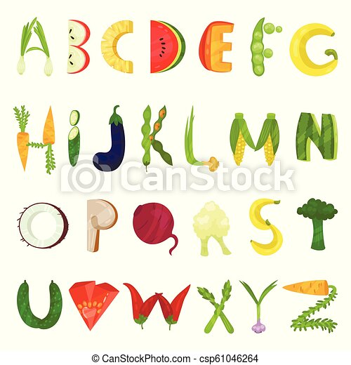 Veggie English alphabet letters made from fresh vegetables vector Illustration on a white background - csp61046264