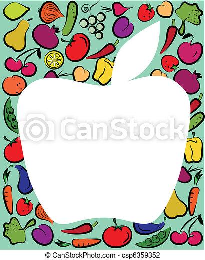 vegtables, frutta, mela, sagoma - csp6359352