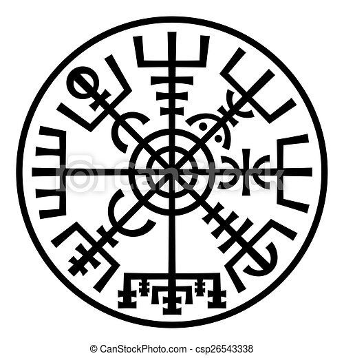 Vegvisir. The Magic Compass of Vikings. Runic Talisman (In The Ring). - csp26543338