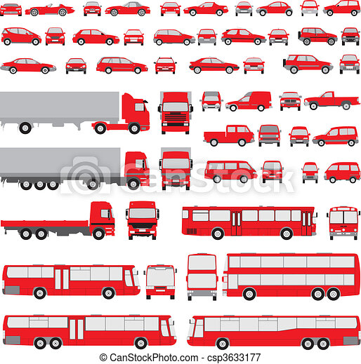 Vehicle-assorted silhouettes - csp3633177