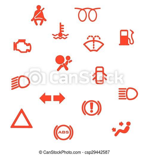 Vehicle Dash Warning Symbols A Collection Of Automobile Vector - Car image sign of dashboarddashboard warning lights stock images royaltyfree images
