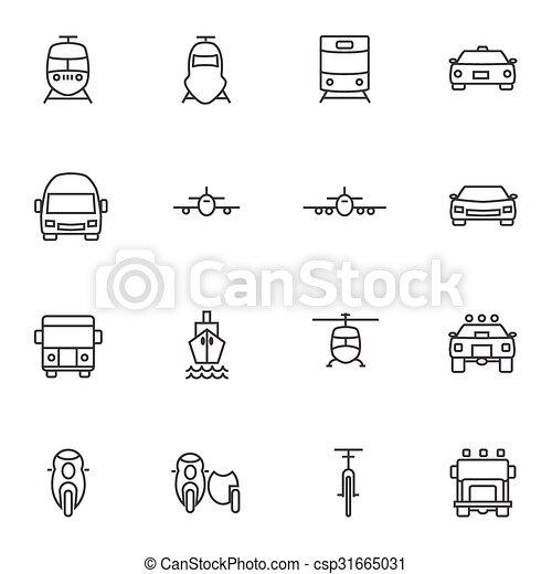 Vehicle icon sets. Line icons. - csp31665031