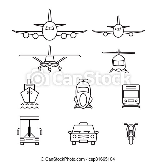 Vehicle icon sets. Line icons. - csp31665104