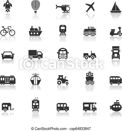 Vehicle icons with reflect on white background - csp64833847