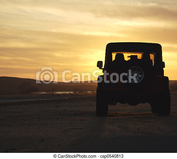 Vehicle in the Wilderness at Sunset - csp0540813