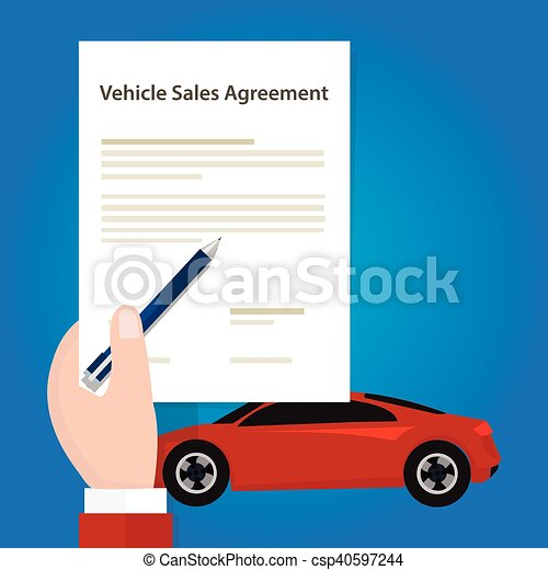 Eps Vector Of Vehicle Sales Agreement Document Paper Car Hand