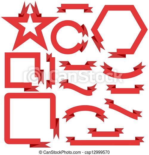 vektor, állhatatos, ábra, szalagcímek, gyeplő, piros - csp12999570