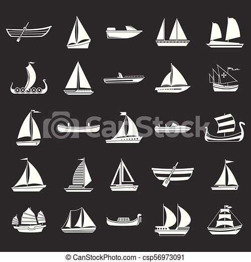 vektor, állhatatos, szürke, csónakázik, ikon - csp56973091