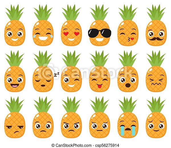 Vektor šikovný Dát Emojis Ananas