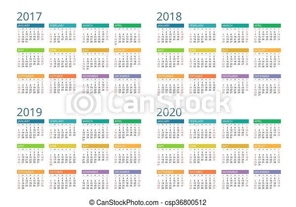 vektor, 2020., 2018, startar, 2019, 2017, kalender, vecka, sunday., enkel, design. - csp36800512