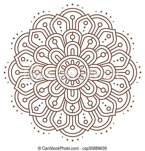 Vektor, abstrakt, mandala, linie, indische . Dekorativ,... Vektoren ...