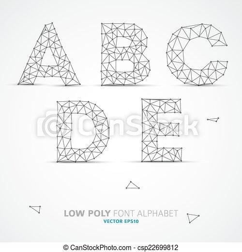 Vektor, alphabet, schriftart, niedrig, poly. Draht, alphabet, poly ...