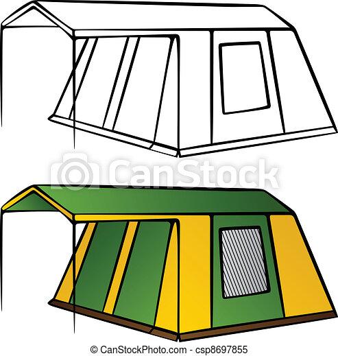 Vektor Altes Familie Lagern Zelt