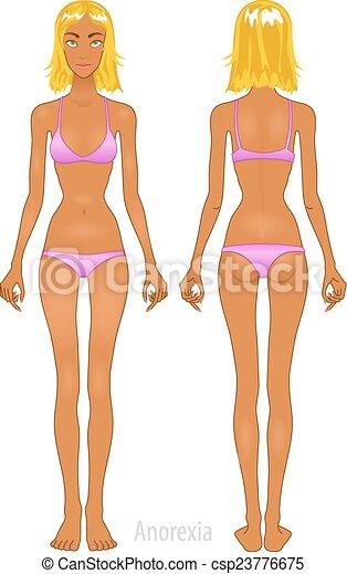 Fette und dünne Frau, vektorische Abbildung, normal, anorexia Körper - csp23776675