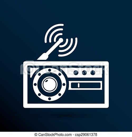 Vektor, antenne, symbol, station, radio, fm, ikone. Vektor, antenna ...