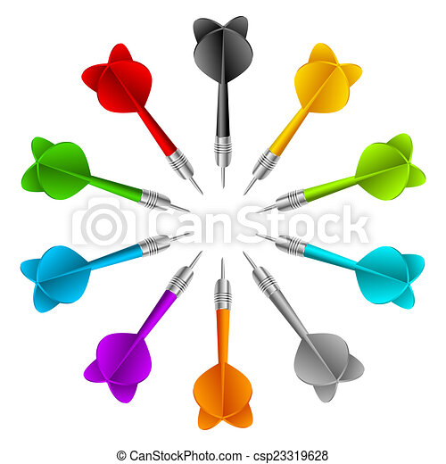 Vektor, begriff, farbe, spiel, satz, darts. Vektor, begriff ...