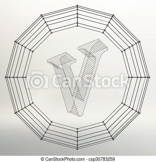 Vektor, begriff, rahmen, schriften, v., polygonal., kontur, draht ...