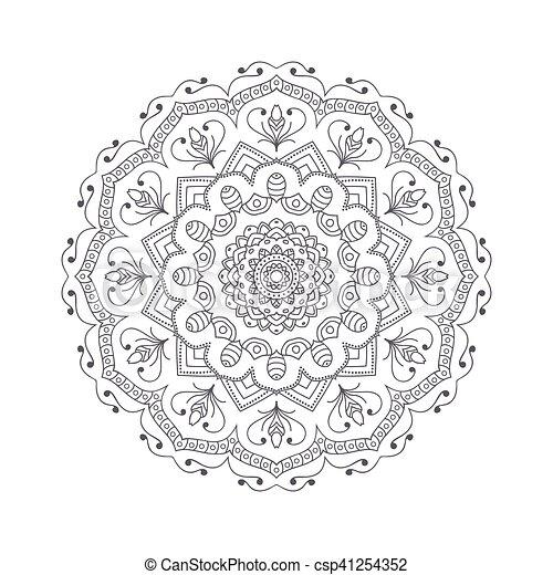 Vektor, blume, illustration., islamisch, motif., indische ...