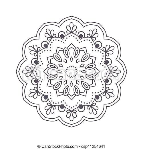 Vektor, blume, illustration., islamisch, motif., indische ,... EPS ...
