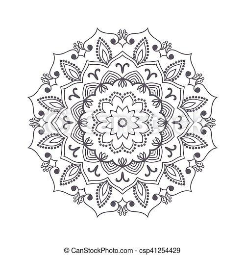 Vektor, blume, illustration., islamisch, motif., indische , henna ...