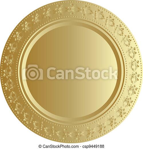 vektor, bricka, illustration, guld - csp9449188