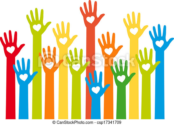 Farbige Hände mit Herz, Vektor - csp17341709