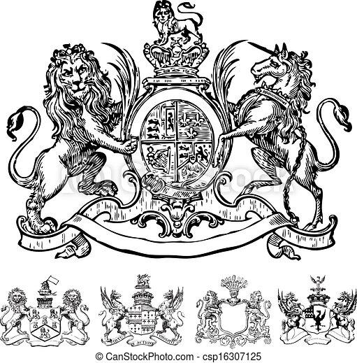 vektor, clipart, löwe, viktorianische , kämme - csp16307125