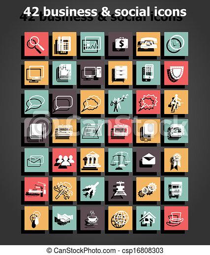 vektor, dát, společenský, business ikona - csp16808303