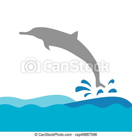 vektor, delfin, tenger, ábra, lenget - csp49887596