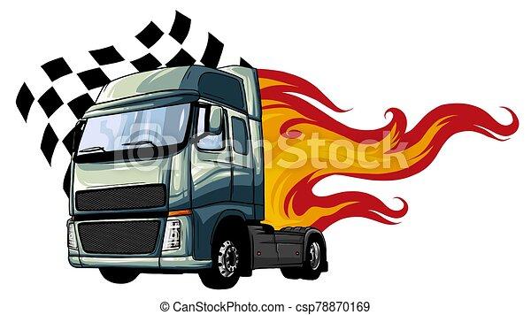 vektor, design, halv-, illustration, tecknad film, truck. - csp78870169