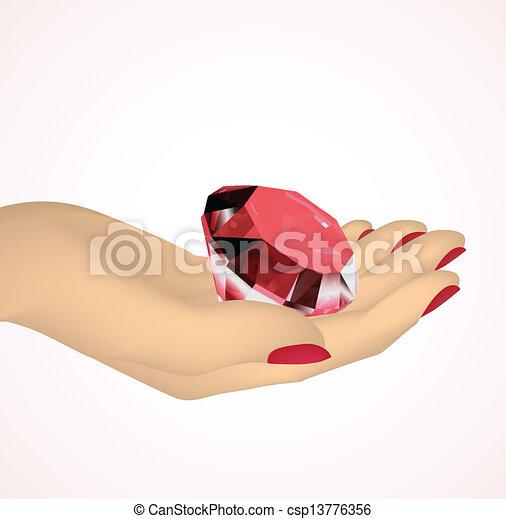 Roter Diamant in den Händen der Frauen. Vector - csp13776356