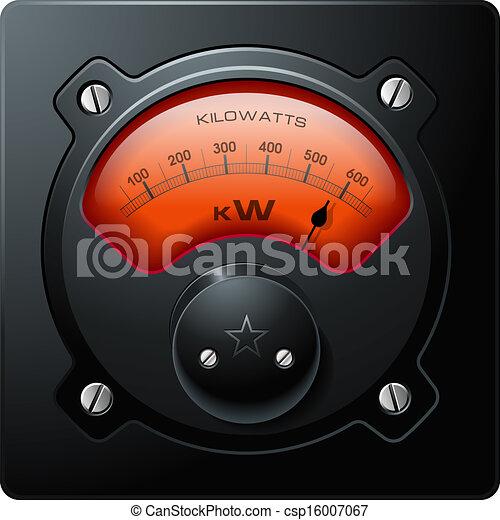 vektor, elektrisk, analog, meter, röd - csp16007067