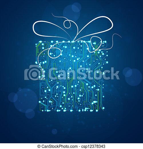 vektor, eps10, geschenk, abbildung, hintergrund, brett, stromkreis, technologie, weihnachten - csp12378343