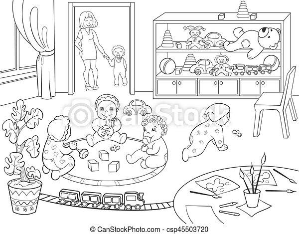 Vektor, färbung, abbildung, karikatur, kindergarten, buch,... Vektor ...