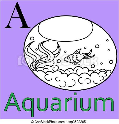 Vektor, färbung, alphabet., aquarium., buch, letter.... Clipart ...
