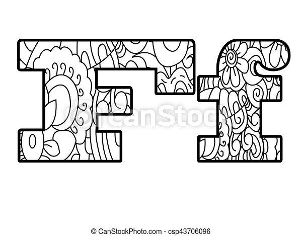 Vektor, färbung, alphabet, f, abbildung, buch, anti, brief.... EPS ...