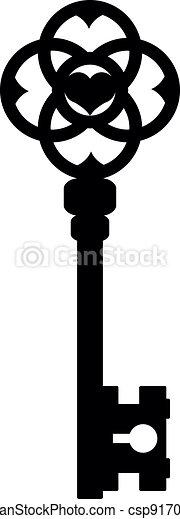 vektor, fekete, ábra, kulcs - csp9170041