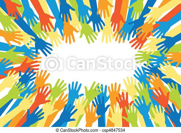 vektor, hænder, farverig - csp4847534