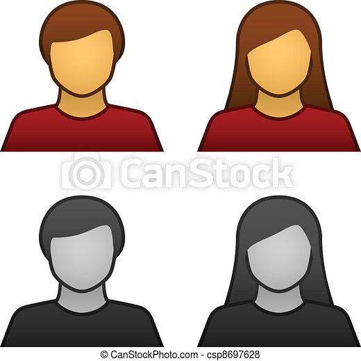vektor, hím, avatar, női, ikonok - csp8697628