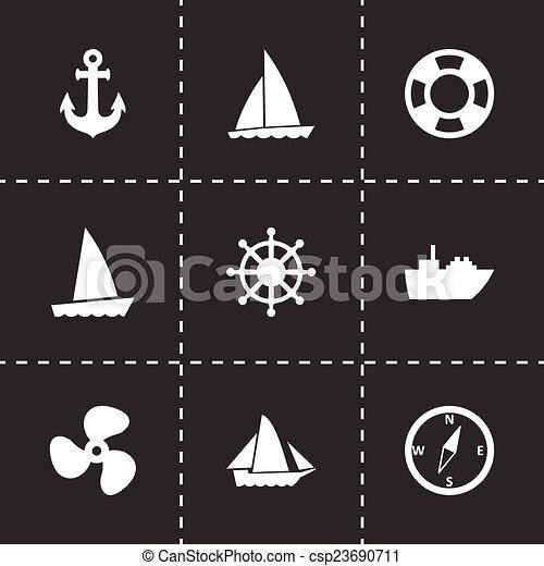 vektor, hajó, állhatatos, csónakázik, ikon - csp23690711