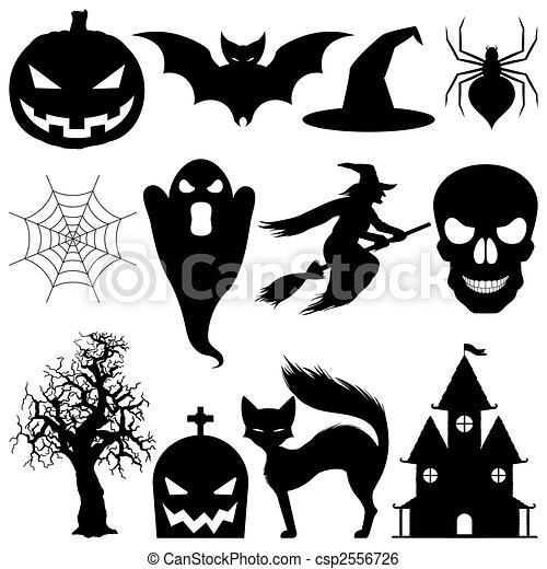 Vektor, halloween, elements. Vektor, 12, elements.,... ClipArt ...