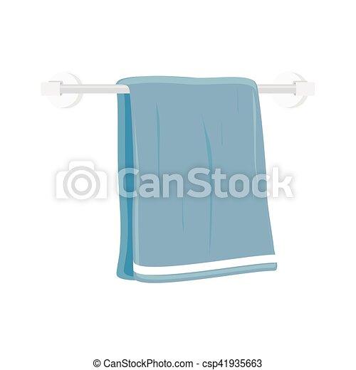 Vektor, handtuch, bad. Blaues, trocken, badezimmer,... Clipart ...